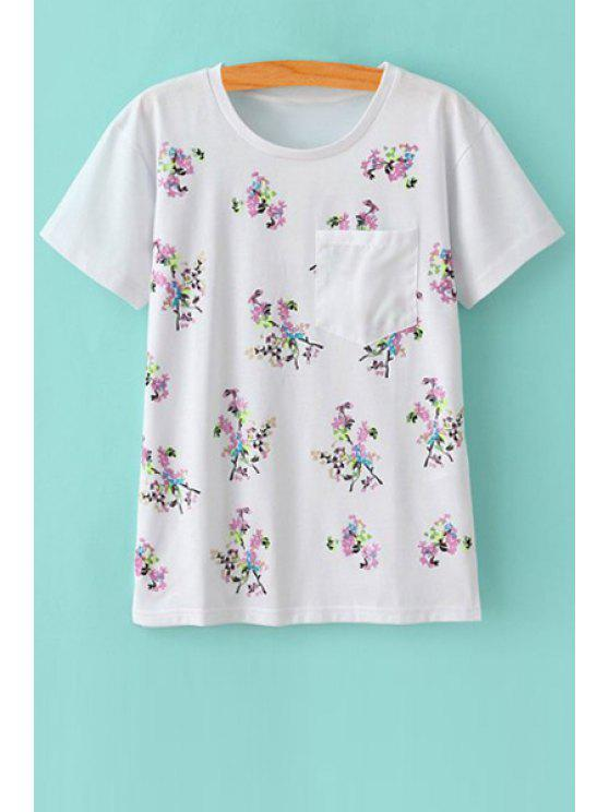 outfit Tiny Floral Print Short Sleeves T-Shirt - WHITE S