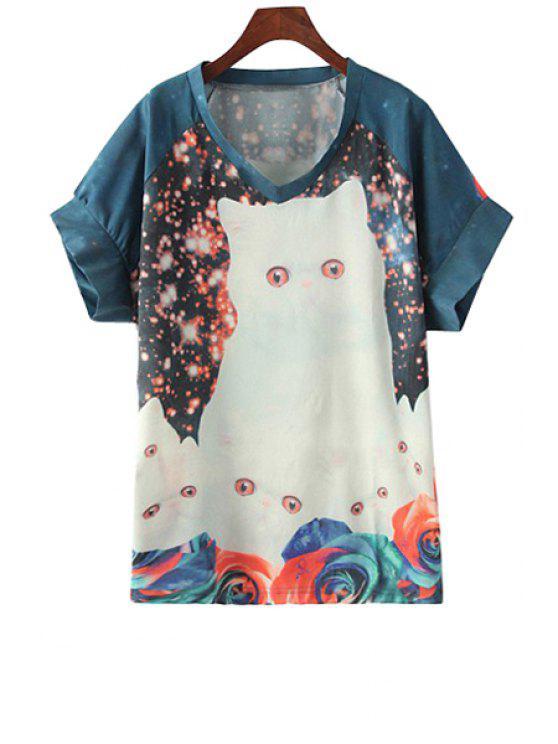 unique Kitten Print V-Neck Short Sleeve T-Shirt - COLORMIX S