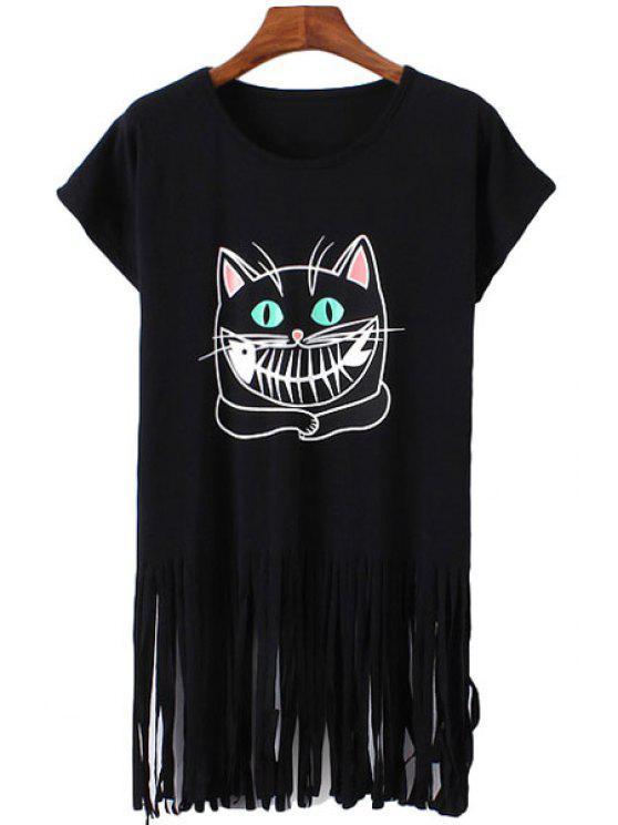 new Cartoon Cat Print Fringe Short Sleeve T-Shirt - BLACK ONE SIZE(FIT SIZE XS TO M)