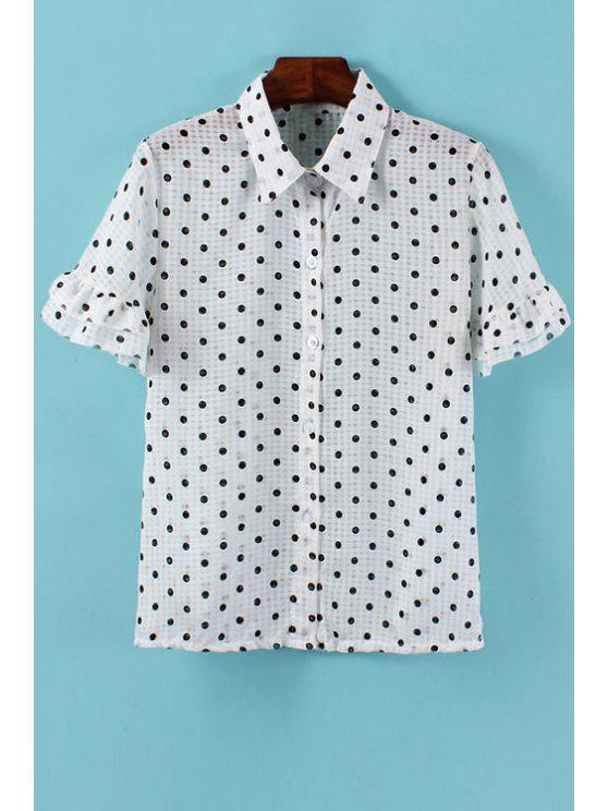 fashion Polka Dot Flounce Short Sleeve Shirt - WHITE ONE SIZE(FIT SIZE XS TO M)