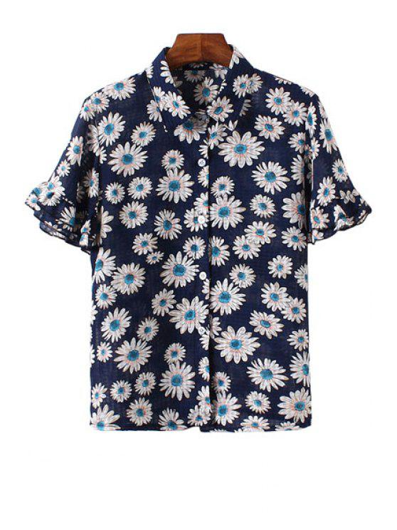 chic Floral Print Flounce Short Sleeve Shirt - BLUE AND WHITE ONE SIZE(FIT SIZE XS TO M)