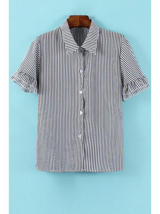 sale Stripe Flounce Short Sleeve Shirt - STRIPE ONE SIZE(FIT SIZE XS TO M)