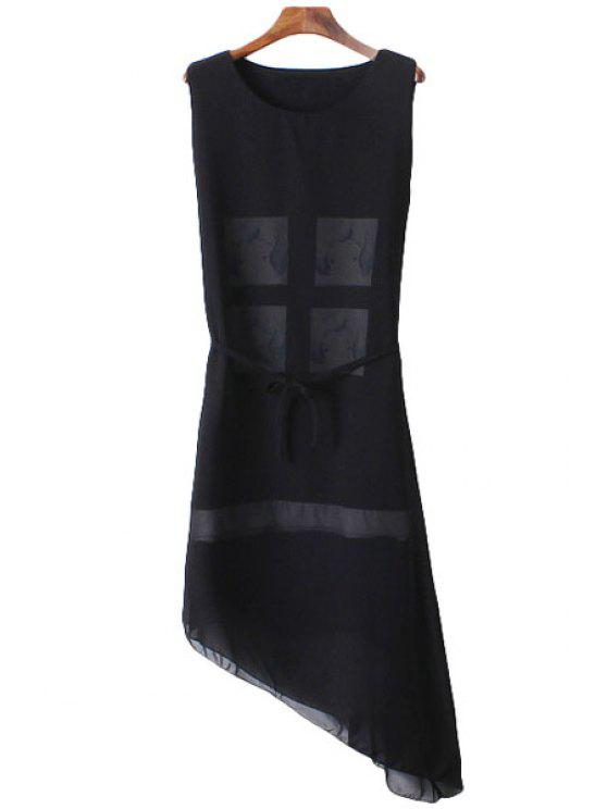 chic Figure Print Asymmetrical Sleeveless Dress - BLACK ONE SIZE(FIT SIZE XS TO M)