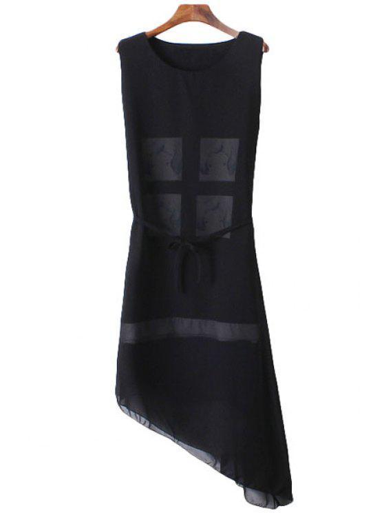 chic Figure Print Asymmetrical Sleeveless Dress - BLACK ONE SIZE(FIT SIZE XS TO M)
