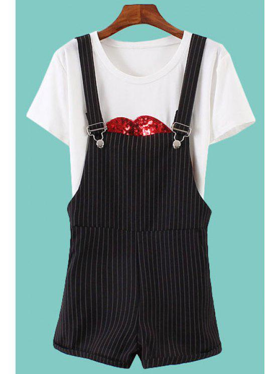 lady Stripe Straight Overall - BLACK S
