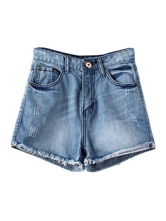 shops Bleach Wash Back Applique Denim Shorts - BLUE XS