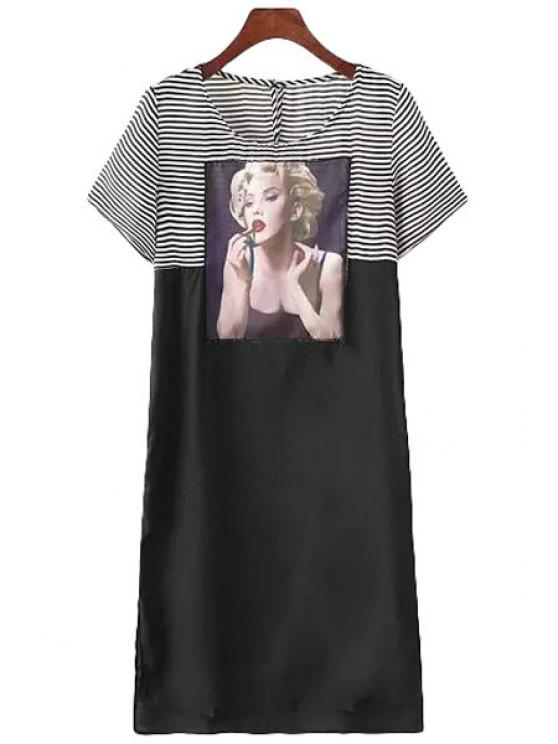 shops Stripe Figure Splicing Short Sleeve Dress - WHITE AND BLACK S