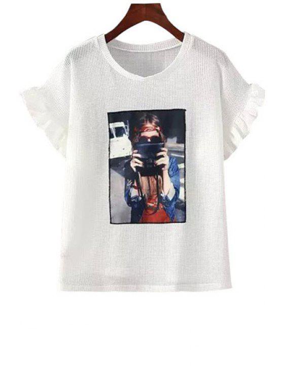 outfit Figure Applique Mesh Flounce Short Sleeve T-Shirt - WHITE M