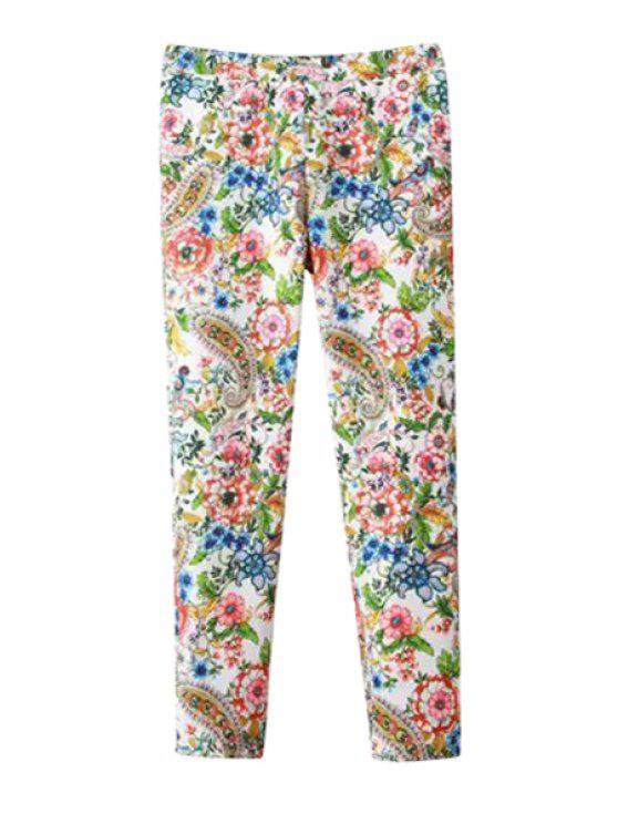 women Full Floral Print Narrow Feet Pants - COLORMIX S