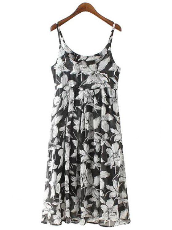 sale Spaghetti Strap White Floral Print Sleeveless Dress - BLACK S