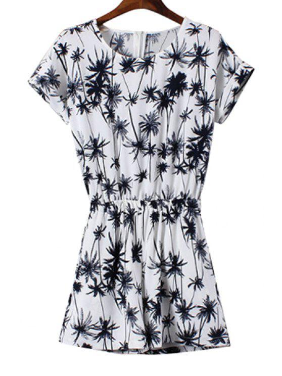 chic Short Sleeve Coconut Tree Print Romper - WHITE S