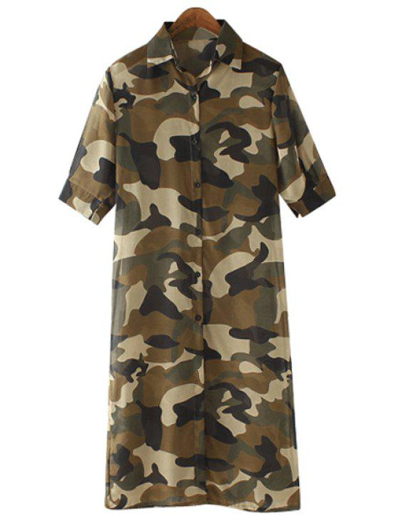 latest Half Sleeve Camouflage Print Shirt - CAMOUFLAGE COLOR S