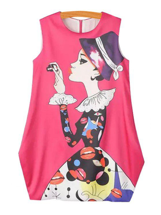 fancy Characters Print Loose-Fitting Sundress - PINK M