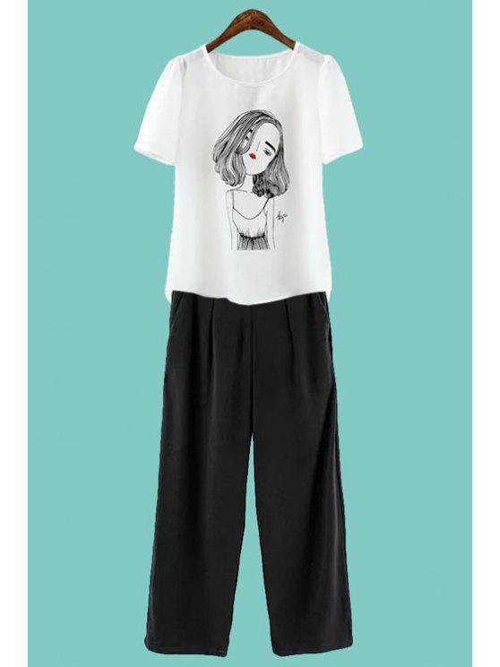 women's Figure Print Short Sleeve T-Shirt + Solid Color Pants - WHITE S
