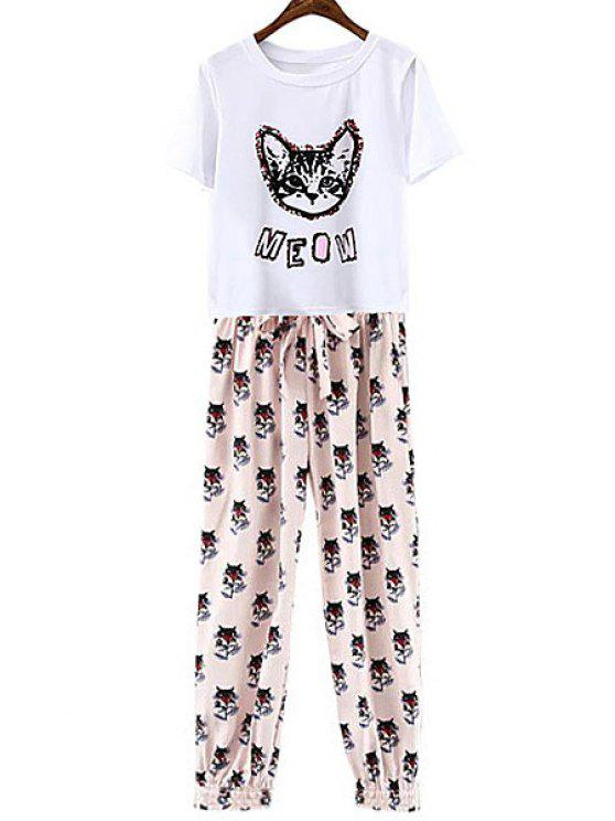 shop Cat Print Short Sleeve T-Shirt + Tie-Up Pants - WHITE S