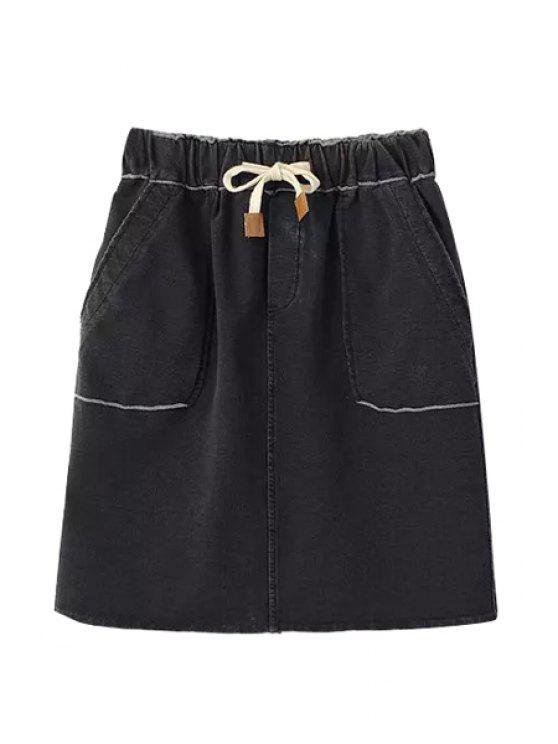 online Denim Elastic Waist Drawstring Skirt - BLACK ONE SIZE(FIT SIZE XS TO M)