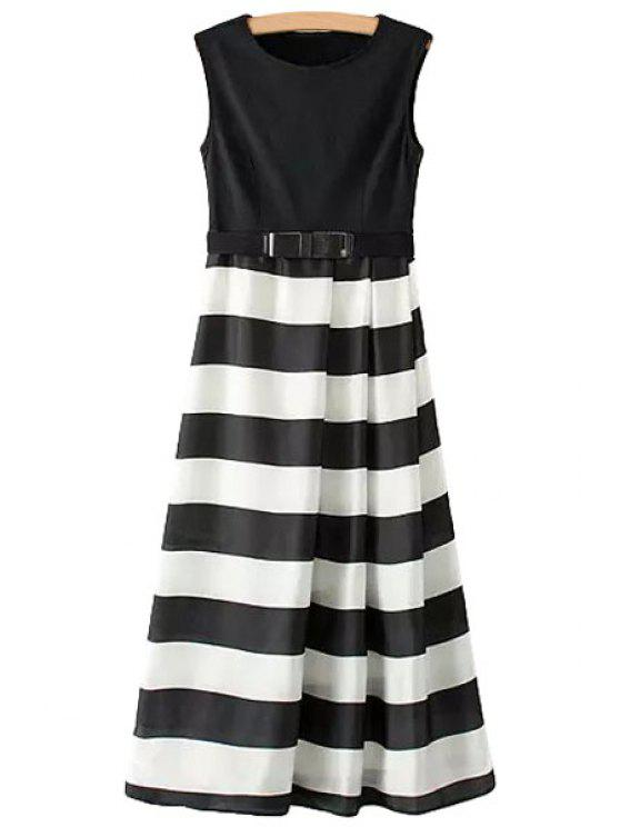 unique Color Block Stripe Belt Sleeveless Dress - WHITE AND BLACK S