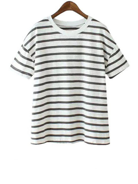 shop Jewel Neck Stripe Short Sleeve T-Shirt - BLACK ONE SIZE(FIT SIZE XS TO M)