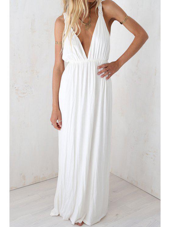 online White Plunging Neck Sleeveless Maxi Dress - WHITE S
