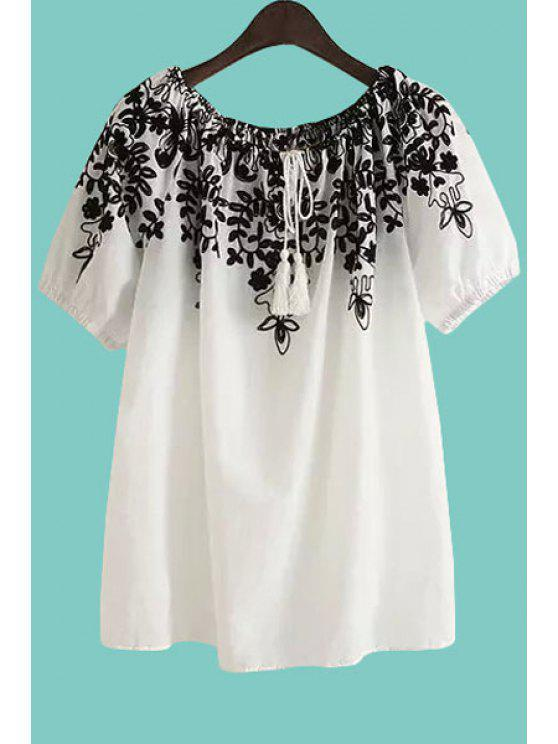 women's Floral Pattern Tie-Up Short Sleeve T-Shirt - WHITE ONE SIZE(FIT SIZE XS TO M)