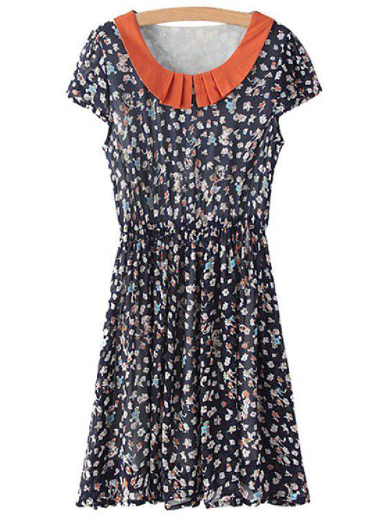 shops Tiny Floral Print Splicing Short Sleeve Dress - COLORMIX S