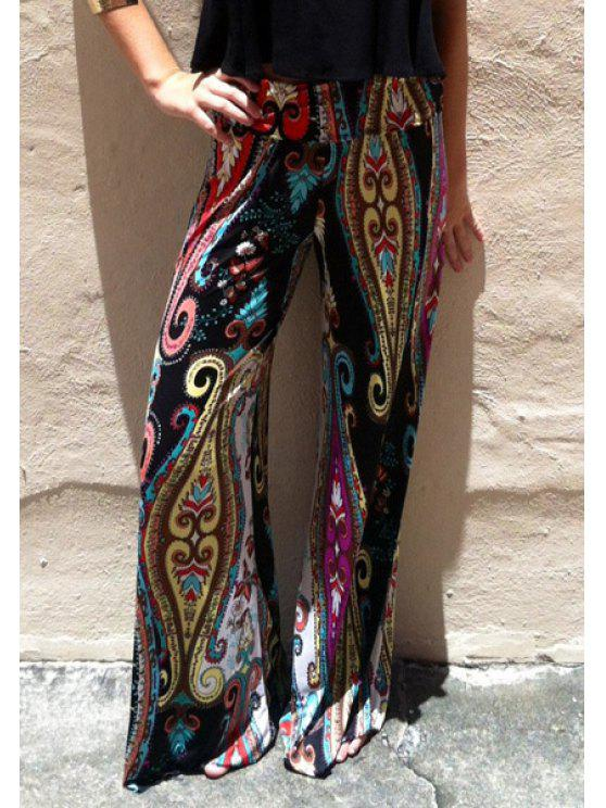 lady Paisley Print Wide Leg Exumas Pants - COLORMIX S