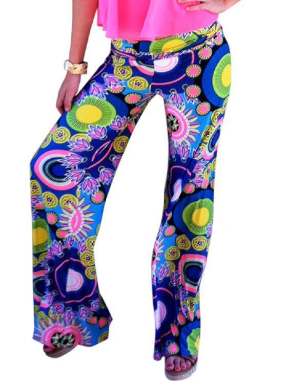 chic Print Wide Leg Exumas Pants - COLORMIX S