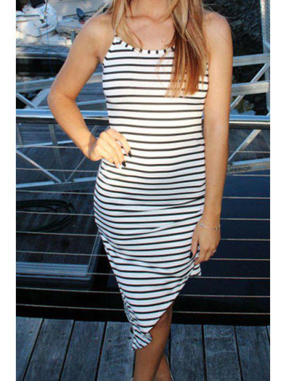shops Stripe Irregular Hem Bodycon Dress - STRIPE S