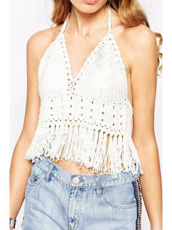 outfit Fringe Openwork Solid Color Knit Tank Top - WHITE ONE SIZE(FIT SIZE XS TO M)