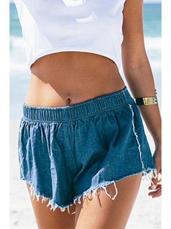 womens Solid Color Denim Elastic Waist Shorts - BLUE M