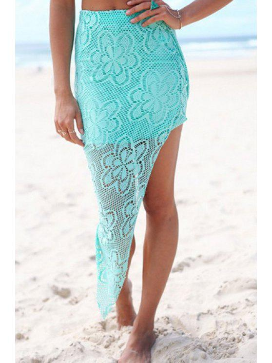chic Lace Solid Color Irregular Hem Skirt - TURQUOISE S