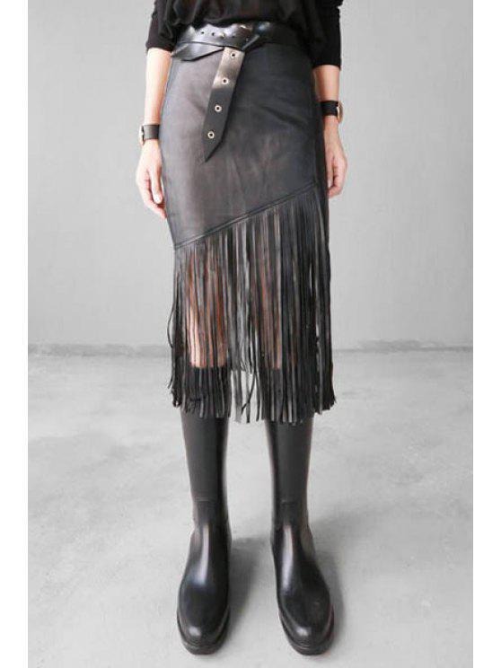trendy Solid Color Fringe PU Leather Skirt - BLACK S