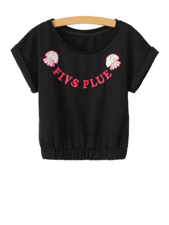 new Letter Embroidery Sequins Short Sleeve T-Shirt - BLACK S