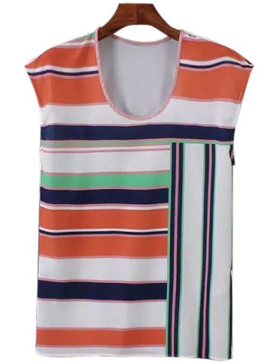 trendy Stripe Spliced Sleeveless T-Shirt - ORANGE S