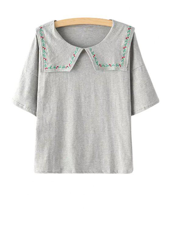 outfit Turn-Down Collar Floral Embroidery T-Shirt - GRAY ONE SIZE(FIT SIZE XS TO M)