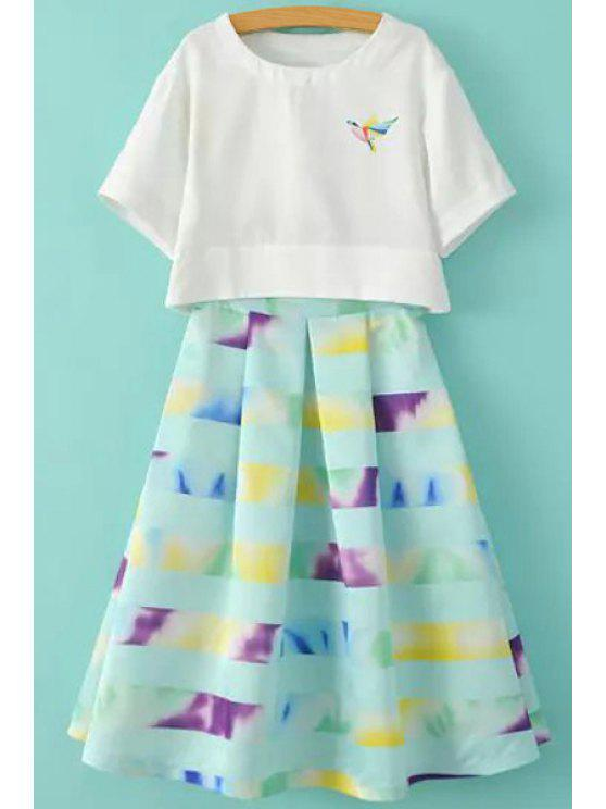 ladies Bird Print Short Sleeve T-Shirt and Print A-Line Skirt Suit - WHITE AND GREEN S