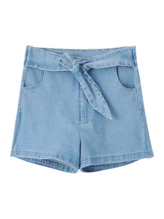 affordable Solid Color Self-Tie Denim Shorts - LIGHT BLUE M