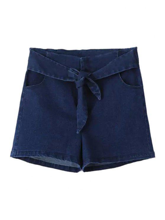 best Solid Color Self-Tie Denim Shorts - DEEP BLUE M