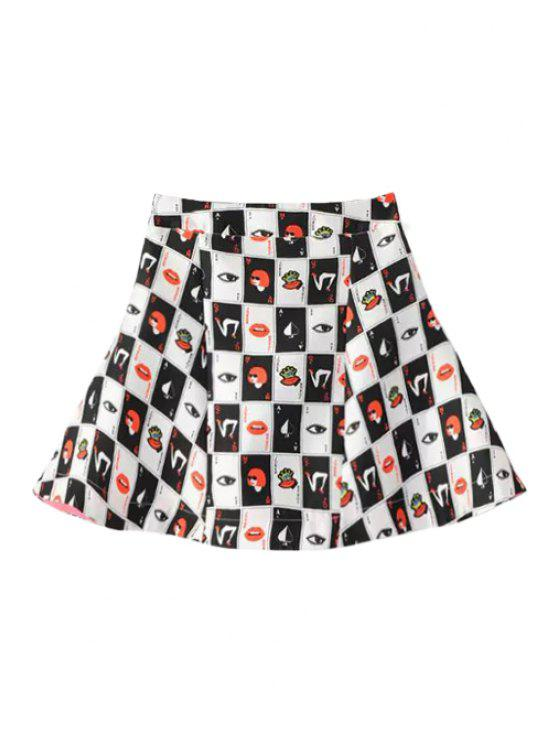 fashion Eye Figure Print A-Line Skirt - BLACK AND WHITE AND RED S