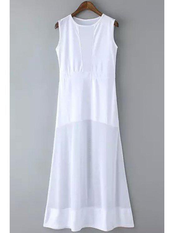 outfits Sleeveless White Maxi Sundress - WHITE S