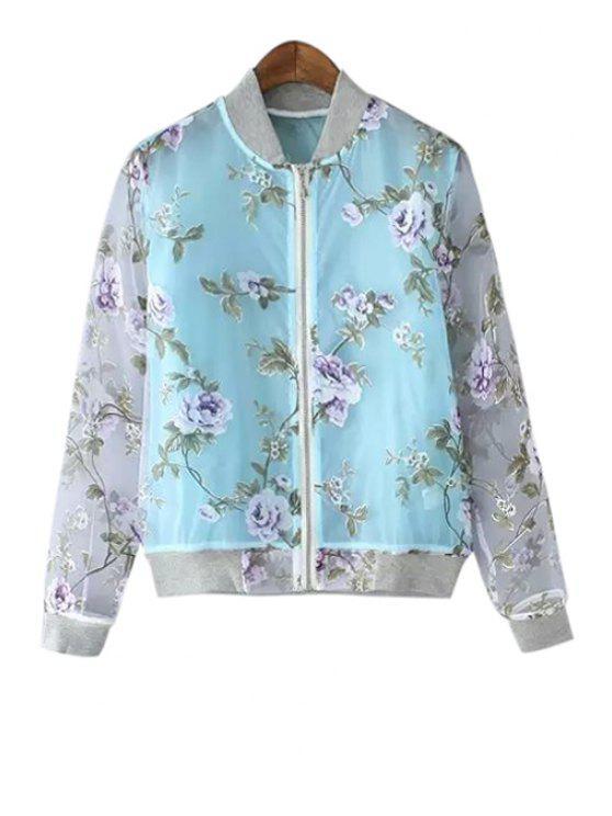 buy Long Sleeve Floral Pattern Jacket - BLUE M