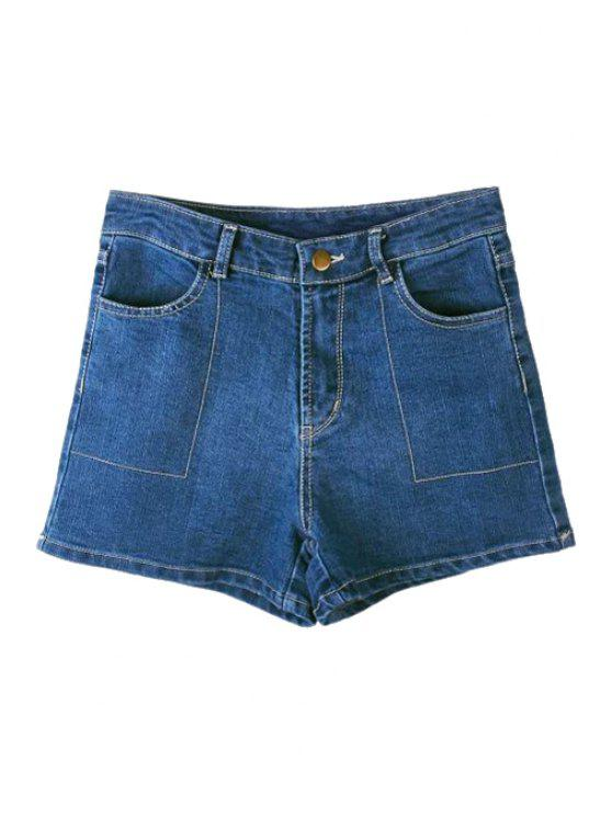 shops Denim Solid Color Shorts - BLUE 36