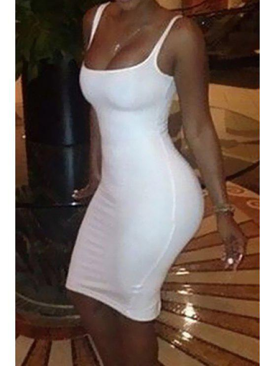 chic Spaghetti Strap Solid Color Back Slit Dress - WHITE S