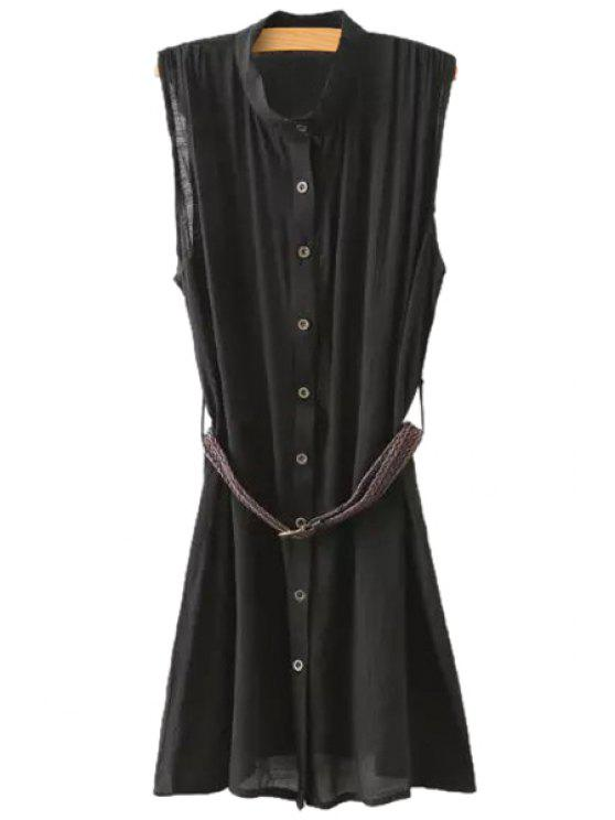 women's Sleeveless Solid Color Linen Dress - BLACK S