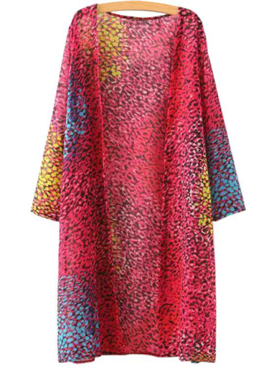 shop Long Sleeve Colorful Leopard Print Blouse - COLORFUL ONE SIZE(FIT SIZE XS TO M)