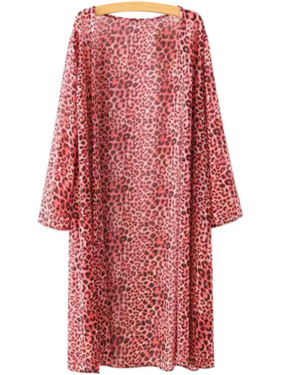 shops Long Sleeve Red Leopard Print Blouse - RED ONE SIZE(FIT SIZE XS TO M)