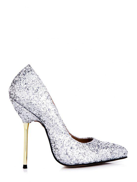 buy Sequined Sexy High Heel Sandals - SILVER 39