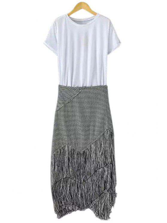 hot Short Sleeve T-Shirt and Houndstooth Skirt Suit - WHITE AND BLACK S