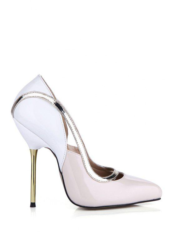 outfit Hollow Out Color Block Stiletto Heel Pumps - LIGHT PINK 39