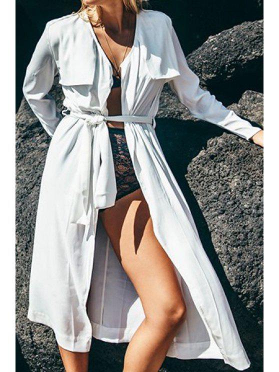 buy White Long Sleeve with Belt Coat - WHITE S